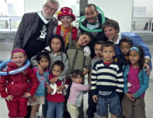 Tom, LaFleur, Carlos and Ryan with children at Vista Hermosa Hospital, Ciudad Boulevar, Bogota Colombia