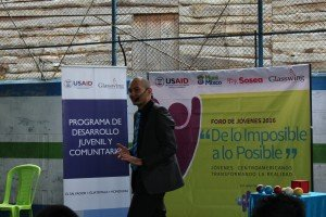 Carlos Lopez leading a youth forum in Mixco, Guatemala
